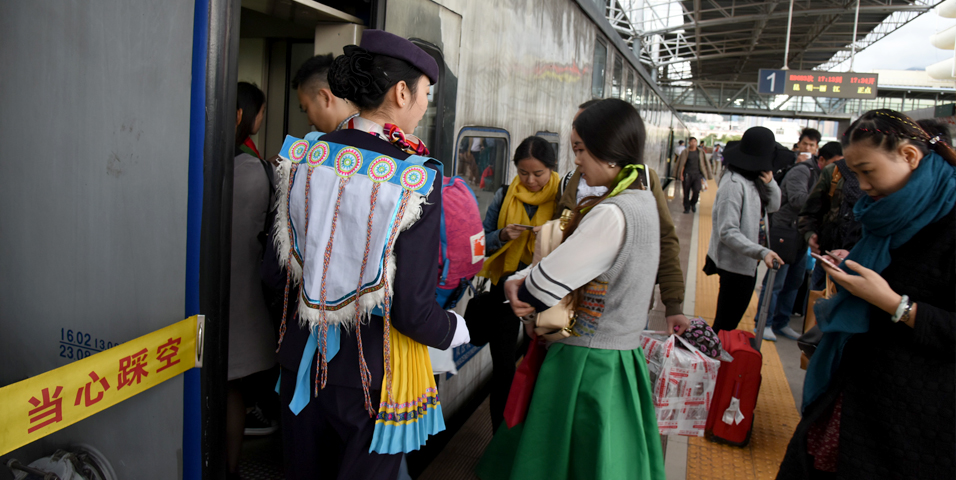A train arrives at Dali Railway Station from Kunming in Yunnan province of the People's Republic of China. Photo credit: ADB.