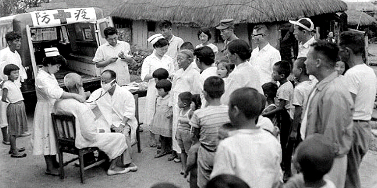 Immunization activities were done in rural villages in the Republic of Korea in the 1960s. Photo credit: National Archives of Korea.