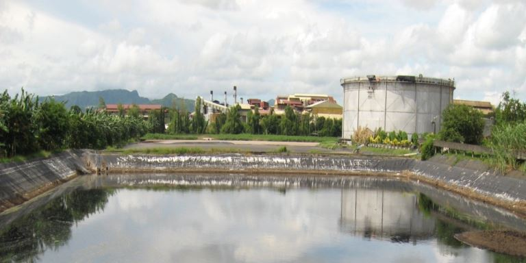 A view of Absolut Distillers Incorporated's catchment lagoon and plant. Photo credit: Absolut Distillers Inc.