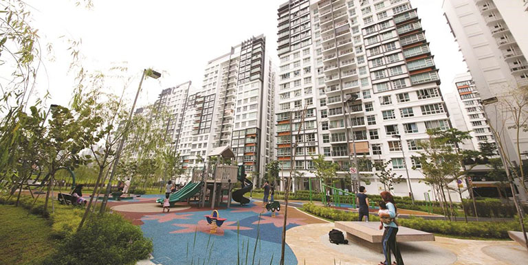 This is a typical public housing estate in Singapore, where more than 80% of the population live. Photo credit: Housing and Development Board (Singapore).