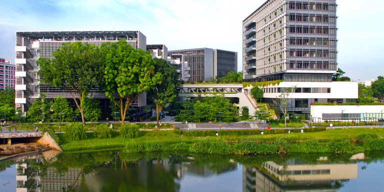 Instead of building a typical public hospital, the Alexandra Health System naturalised an adjacent stormwater collection pond and commissioned a barrier-free, biophilic building to create a waterfront, inclusive, healing space popular with patients and nearby residents alike. Photo credit: Khoo Teck Puat Hospital.
