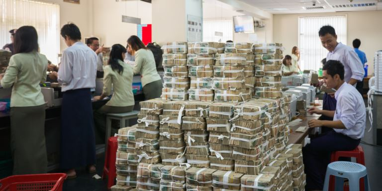 Myanmar's banking system is not yet developed so a huge number of transactions are made in cash. Photo credit: Gerhard Joren/ADB