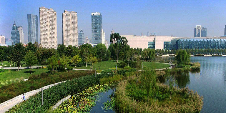 Tianjin Cultural Park in the People's Republic of China is one of the successful examples of water sensitive urban design. Photo credit: ADB.
