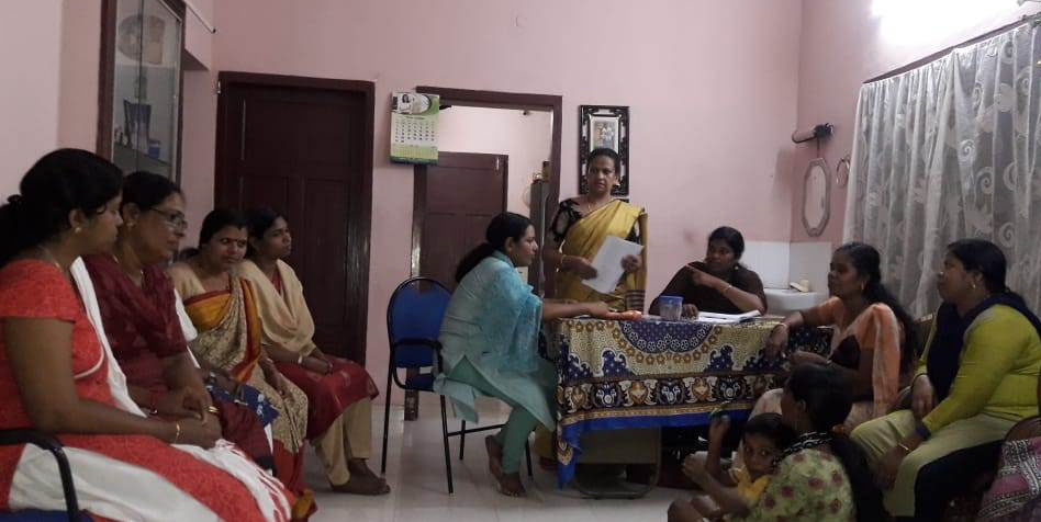 Neighborhood meetings of Kudumbashree members are conducted weekly to discuss progress and opportunities. Photo credit: Caroline C. Neriamparampil.