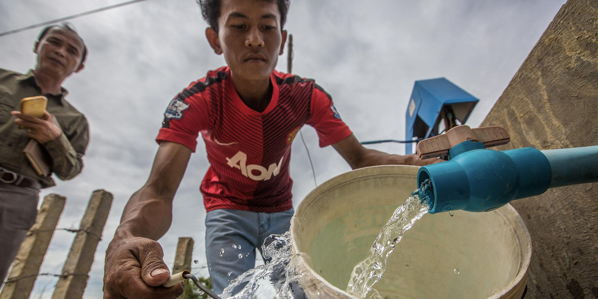 About 64% of households have access to safe drinking water within their premises, but fewer households in rural areas (58%) have this amenity. Photo credit: ADB.