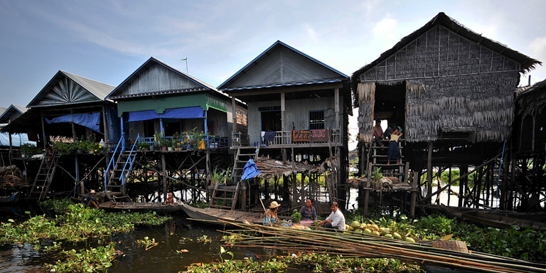 Stilt houses in Kampong Phluk, Siem Reap Province, Cambodia. Southeast Asia contains some of the world's most most climate change-vulnerable countries. Photo credit: ADB.