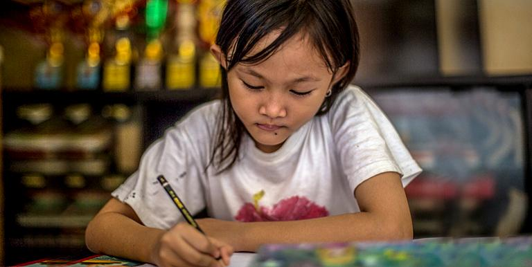 Students can learn at home while schools are closed because of the COVID-19 pandemic. Photo credit: ADB.