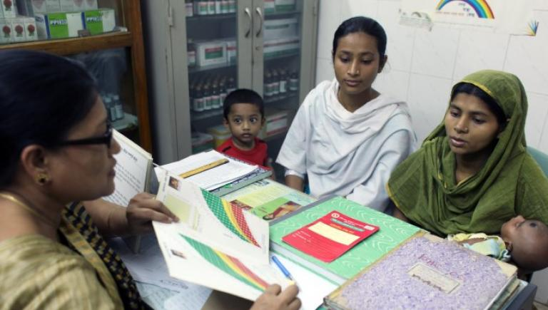 The Urban Primary Health Care Project in Bangladesh  required a systematic behavior change communication program in order to improve the delivery of services geared toward women and children. Photo credit: ADB.