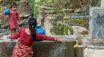 Community taps and pumps save women and children in rural Nepal from trekking long distances to fetch water.  Photo exclusively licensed to the Asian Development Bank until 2021.