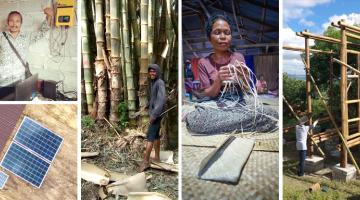 A lease-to-own arrangement allows poorer households to pay for solar home systems with goods or services, such as bamboo and handwoven bags, instead of cash. Photo credit: 3S.