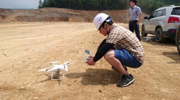 Using drones to verify volume estimation in Kyungju, Republic of Korea. Photo credit: CARTA.