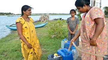 Rural water supply systems in Sri Lanka provide easy access to safe water. Photo credit:  ADB.