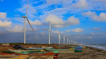 Sri Lanka's first 100-MW wind park on the south coast of Mannar Island is seen as a game changer in its transition to clean energy. Photo credit: Asian Development Bank.