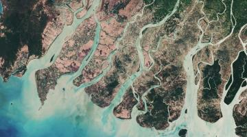"""An image of the Irrawaddy River in Myanmar captured by the Copernicus Sentinel-2A satellite in March 2017 after the harvesting season. Photo credit: <a href=""""http://www.esa.int/spaceinimages/ESA_Multimedia/Copyright_Notice_Images"""">ESA - CC BY-SA 3.0 IGO</a>."""