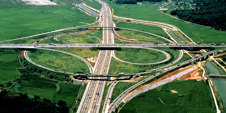 The Republic of Korea mapped out a national road network plan that would make highways accessible within 30 minutes from any point in the country. Photo credit: KOTI.