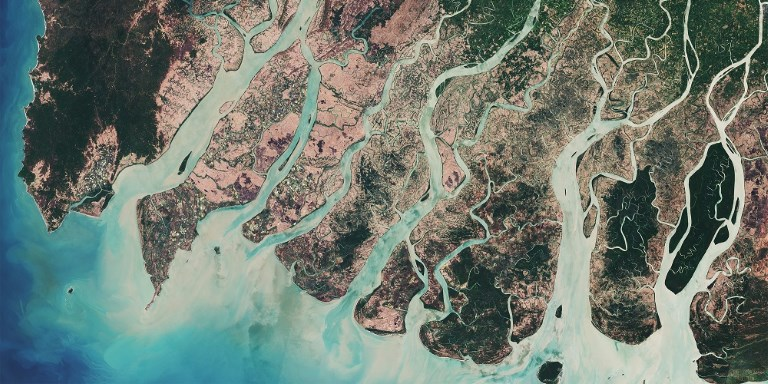 "An image of the Irrawaddy River in Myanmar captured by the Copernicus Sentinel-2A satellite in March 2017 after the harvesting season. Photo credit: <a href=""http://www.esa.int/spaceinimages/ESA_Multimedia/Copyright_Notice_Images"">ESA - CC BY-SA 3.0 IGO</a>."