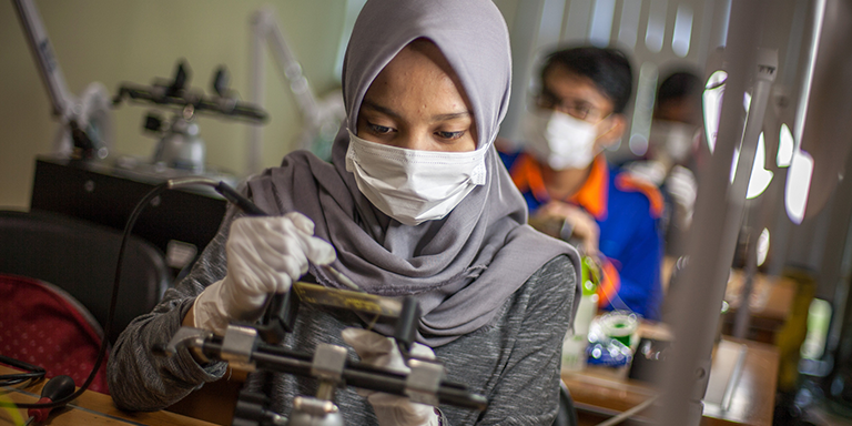 Electronics engineering students in Indonesia design their own printed circuit boards at one of the campus' numerous electronics labs. Photo Credit: ADB